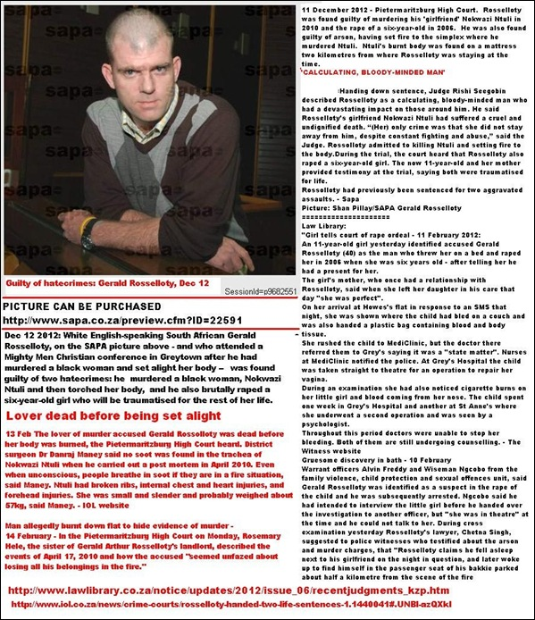 Rosselloty WHITE MAN CONVICTED OF HATECRIME PIETERMARITZBURG COURT DEC12 2012