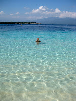Sarah enjoying the clear water of the Gilis