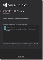 Visual Studio 2013 preview installed