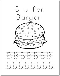 B is for Burger Printable