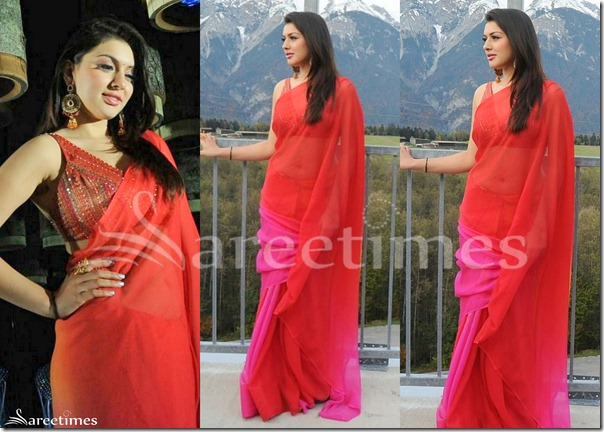 Hansika_Red_Pink_Plain_Saree