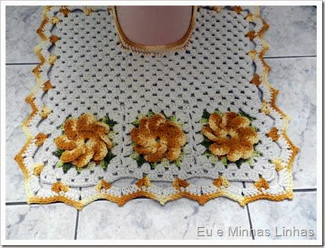 Jogo Banheiro Croche com Flor 2b