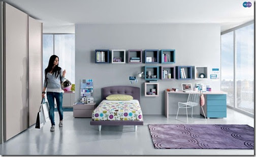 Aqua-Lavendar-White-Contemporary-Teenagers-Room-Colorful-Single-Purple-Carpet-Flooring-Interior-Bedroom-Design-Ideas-Girl-Bedroom-Decoration-Bed-Glass-Wall-Grey-Wall-Desk-Chair-Pillow-Study-Table-Wallshelves
