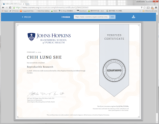 Reproducible Research Johns Hopkins University Verified Certificate