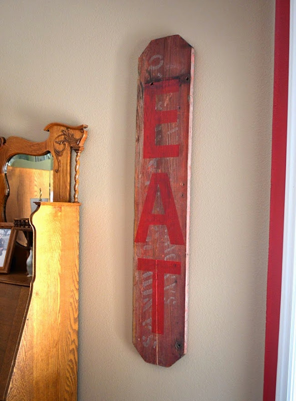 Salvaged Barn Wood EAT Sign - Painted Sign Decor