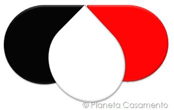 Paleta de Cores - Preto Branco e Vermelho - Planeta Casamento