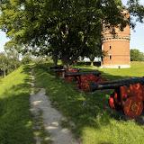 På turen videre fra Nyborg var vi inde og se området omkring Nyborg slot. Her det gamle vandtårn på en af voldene
