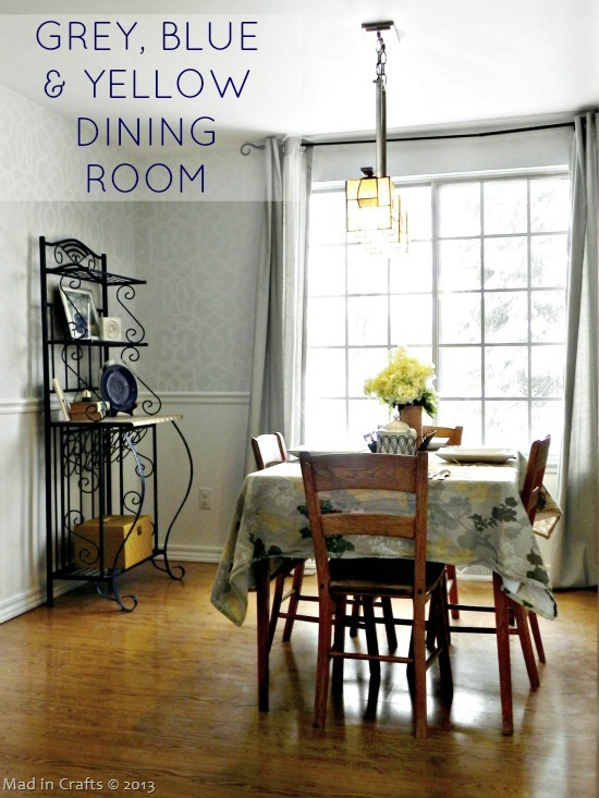 Grey Blue and Yellow Dining Room