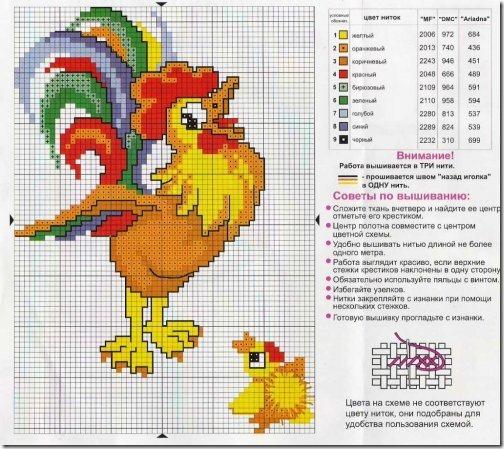 gallo-galo-ponto-cruz-grafico