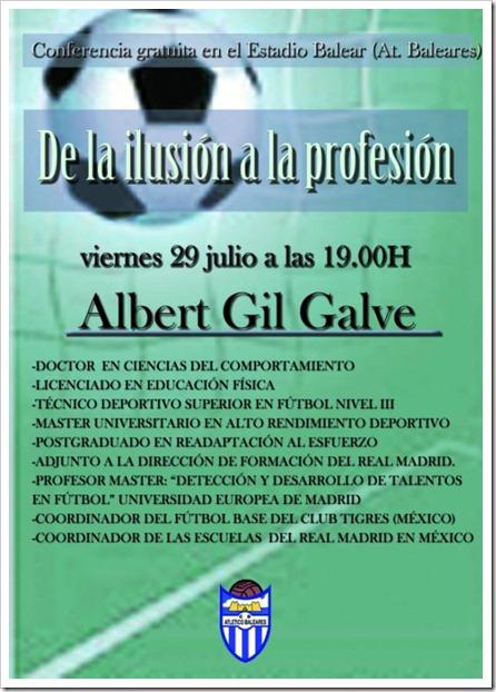 Conferencia de Albert Gil Galve en el Estadio Balear Palma Mallorca, hoy viernes a las 19:00h.