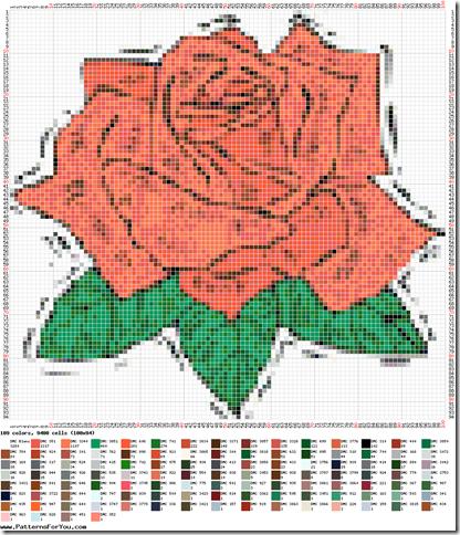 Ponto cruz graficos de rosas  22