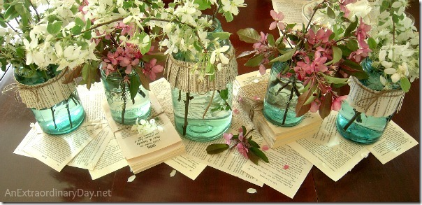 Book-Page-Centerpiece-Blue-Ball-Mason-Jars-AnExtraordinaryDay_net_