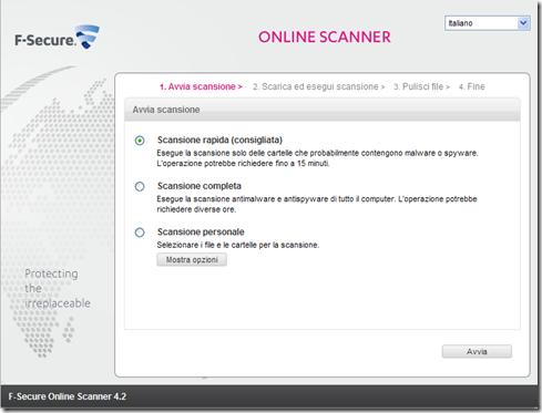 F-Secure Online Scanner Avvia scansione