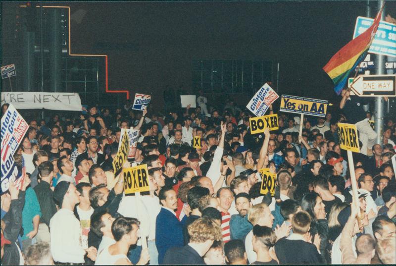 West Holloywood celebration of Bill Clinton's election to the presidency. November 3, 1992.
