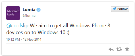 We aim to get all Windows Phone 8 devices on to Windows 10