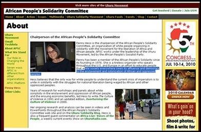 Hess Penny USA citizen Uhuru hatespeech radio supporter AfricanPeoplesSolidarityCommitteePENNY_HESS_USA