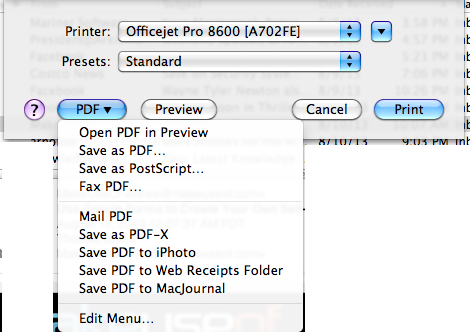 Print to PDF in Mail In Snow Leopard