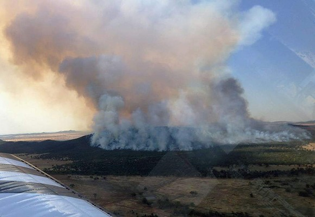 A bushfire burning 8km south west of Naradhan, north of Griffith in New South Wales, 9 January 2013. AFP / NSW Rural Fire Service
