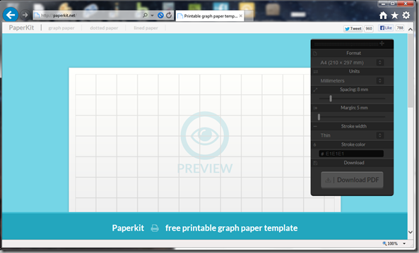 Paperkit.net graph paper screenshot