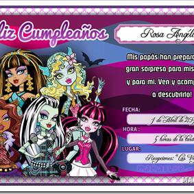 Tarjeta de Cumpleaños de Monster High, para imprimir uno mismo en casa