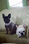 She must have used this photo of us wearing our bejeweled collars for inspiration!