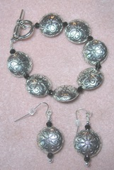 Bracelet June 20.2013 silver black w earrings1