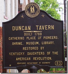 Duncan Tavern marker 93 in Paris, Kentucky, Bourbon Co.
