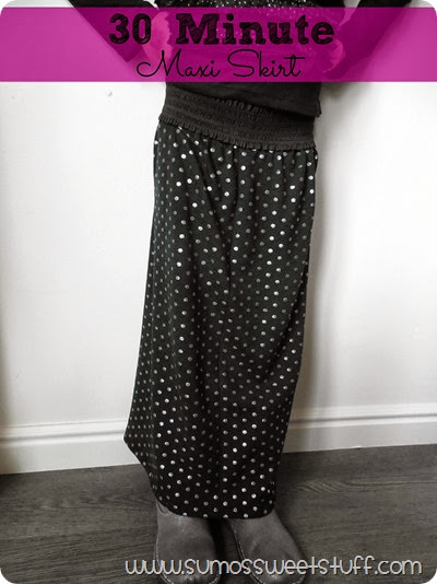 30 Minute Maxi Skirt at www.SumosSweetStuff.com - Make this maxi in 30 minutes or less! #sewing