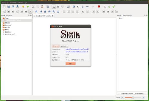 Sigil 0.6 su Ubuntu 12.10
