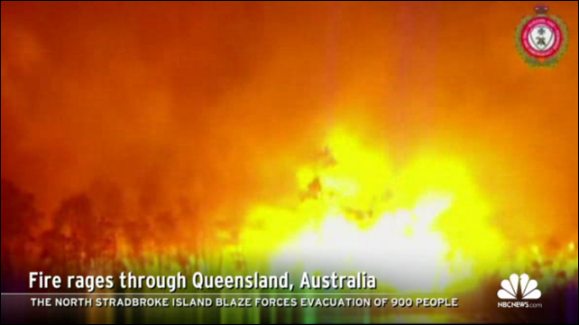 The North Stadbroke Island fire in Queensland, Australia, forces the evacuation of 900 people, 8 January 2013. Photo: NBC News