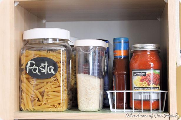 kitchen organization pasta shelf