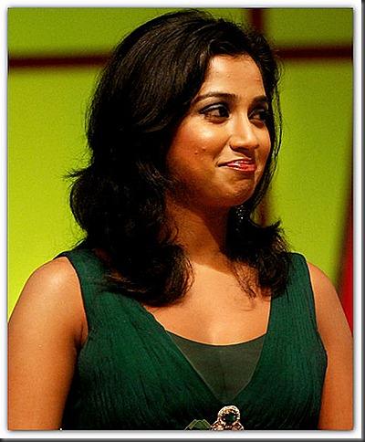shreya goshal in green dress