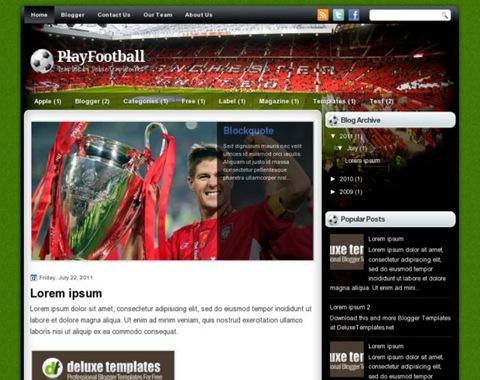 Beautiful Play Football Blogger Themes