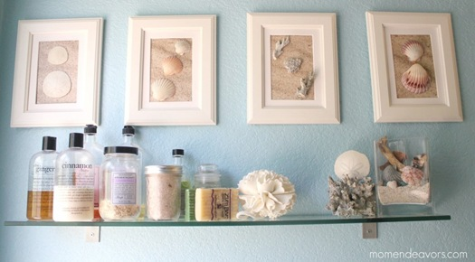 DIY Shell Art in Bathroom