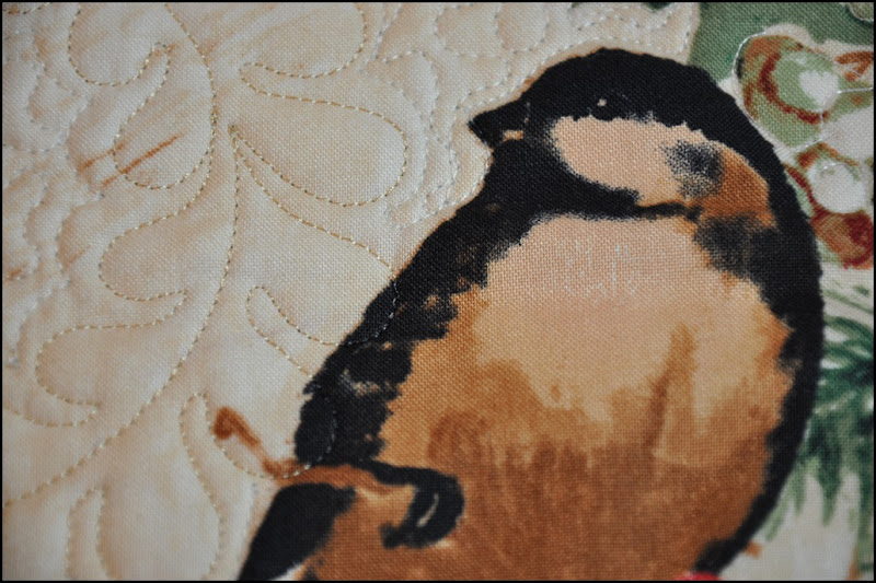 Chicadee quilted wallhanging 007
