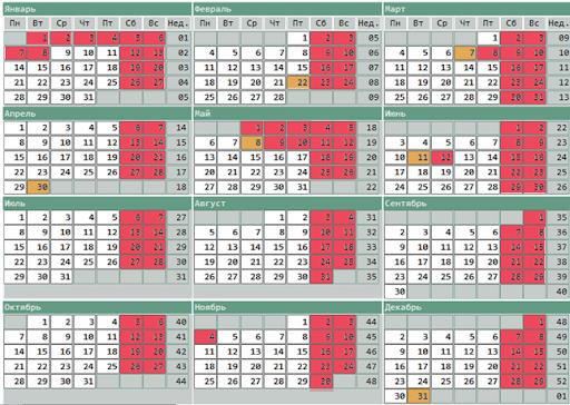 производственный календарь в 2013 году: