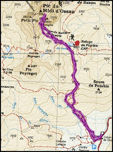Circo Sur del Midi d'Ossau con esquis (Portalet, Pirineo Frances) Mapa