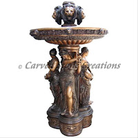 Bronze Fountain, Four Season Women with Lions Head Finial.  H93""