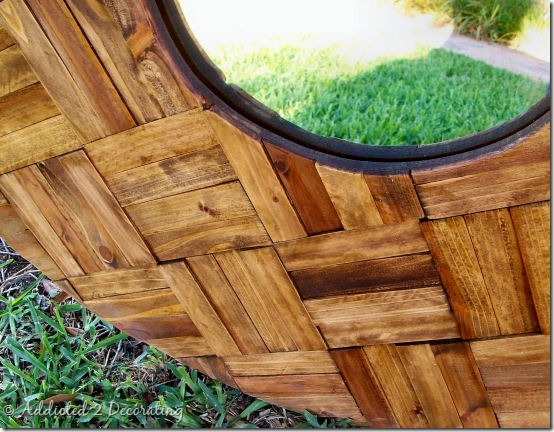 decorative mirror made of wood shims 3