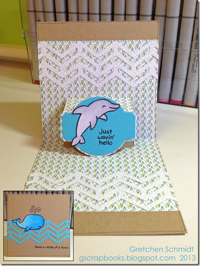 Have a Whale of a Time card with NEW Chevron Border by @gscrapbooks