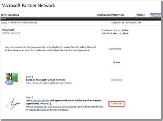 Ciaops Checking Your Mospa Agreement In The Microsoft Partner Portal