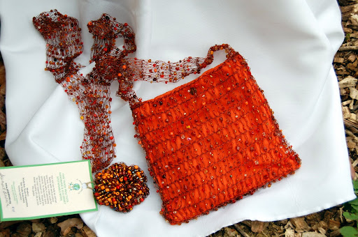 COPPER & BEAD CROCHET HANDBAG OF SOUTH AFRICA