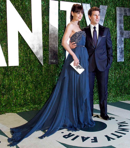 Tom Cruise and his wife, Katie Holmes at Vanity Fair Oscar Party 2012