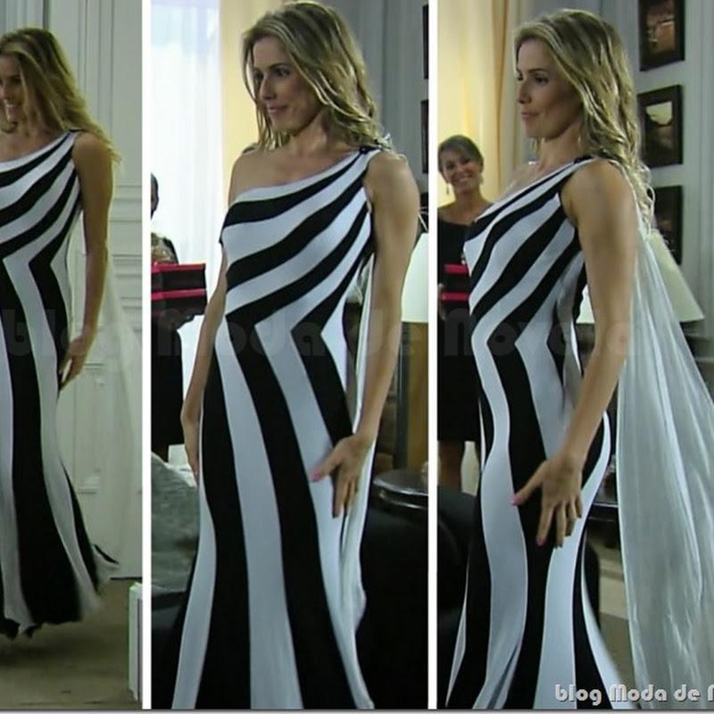 Look inesquecível do dia 18 de março: vestido de listras P&B da Natalie Lamour na novela Insensato Coração (2011)