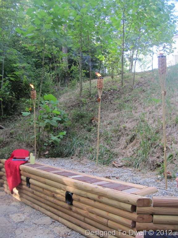 Retaining Wall with Tiki Torches