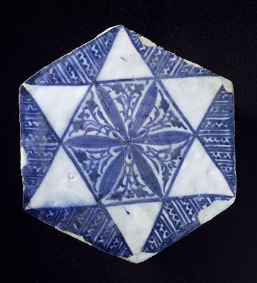 Tile | Origin: Egypt or Syria | Period:  early 15th century | Collection: Shinji Shumeikai Acquisition Fund (M.2001.85.1) | Type: Ceramic; Architectural element, Fritware, underglaze-painted, 7 3/4 x 7 x 5/8 in. (19.69 x 17.78 x 1.59 cm)