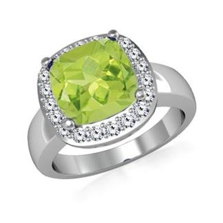 Cushion Peridot and Round Diamond Border Ring