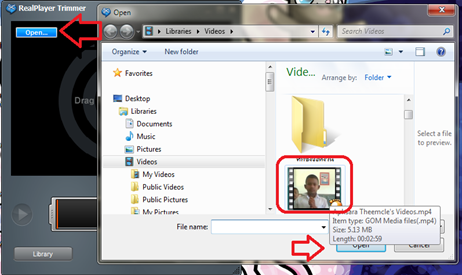 trim video with realplayer