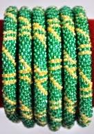 rollover bracelet yellow stripe in green