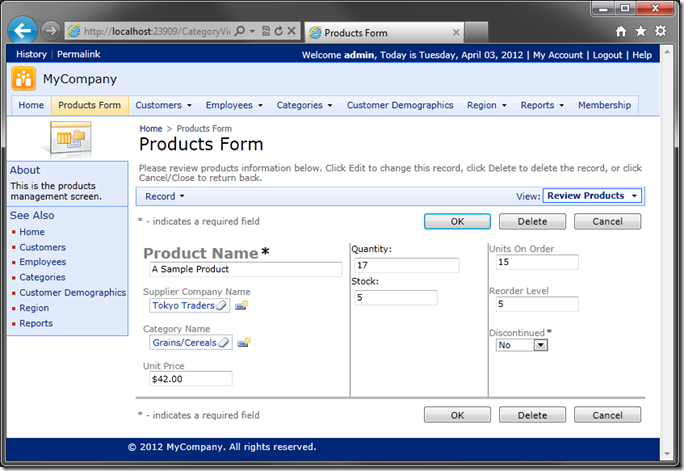 Custom Layout for 'editForm1' of Products shown in Code On Time web application